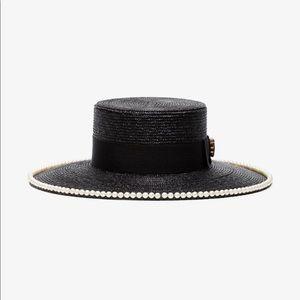 GUCCI Black Pearl Embellished Straw Hat